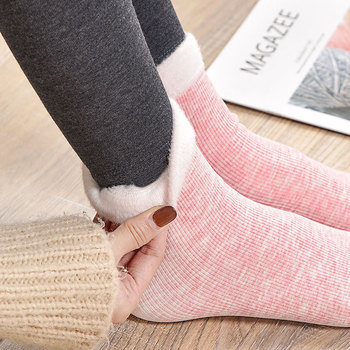 4pcs Socks Winter Warm Women Colored Cotton Plus Velvet Thickening Socks Breathable And Sweat-absorbing Fashion Mid Sock image