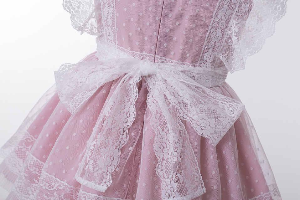 Pettigirl ใหม่สีชมพูสาวปาร์ตี้ชุดสำหรับ 2-8Year สาวแขนยาวลูกไม้ชุดสำหรับเด็กเสื้อผ้า G-DMGD212-301