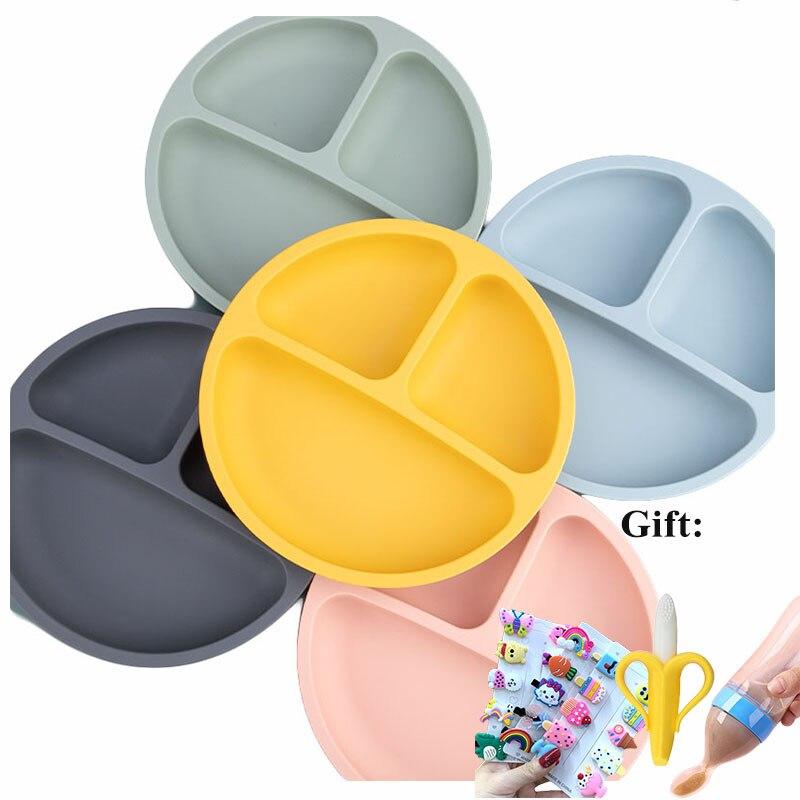 Детская тарелка, ложка для кормления, вилка, крышка для стакана воды, нескользящая Водонепроницаемая посуда, BPA-Free, силиконовая миска для кор...