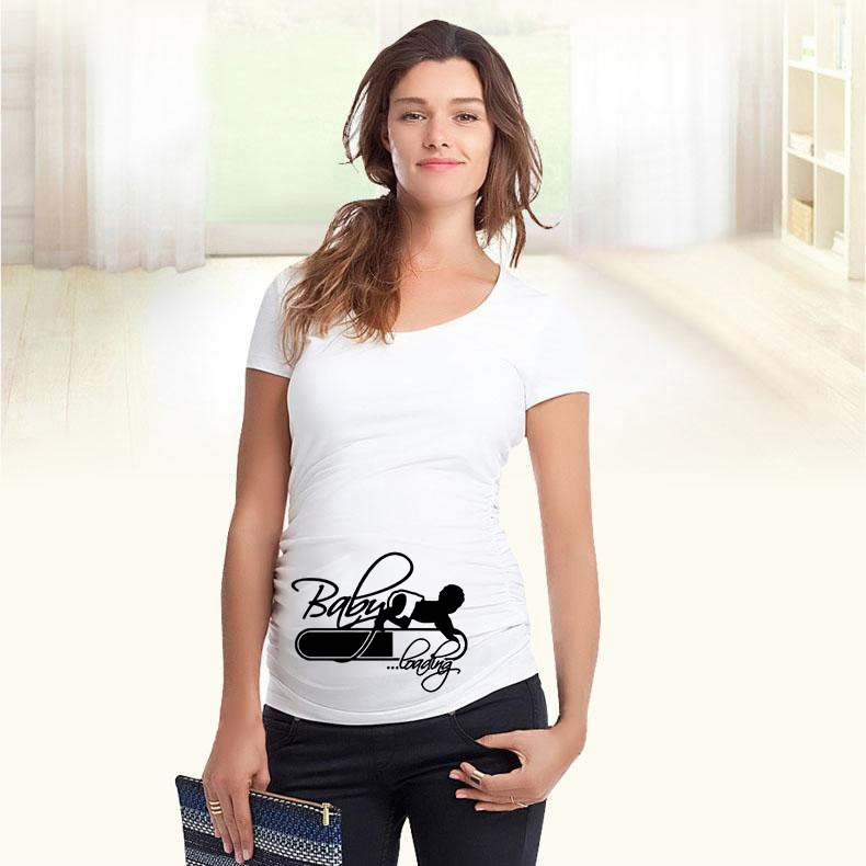 Hot Cute Pregnant T Shirts Casual Pregnancy Maternity Clothes With Baby Coming Soon Shirts Pregnant Clothes New Summer Tee