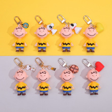 2020 Cute Cartoon Charlie Brown Keychains For Girls Car Or Bag Anime Key Chain Gifts Or Men Key Rings Women Best Gift For A Girl 2020 cartoon cute pikachu keychains anime keyring bell key chain handbag key ring kid toy pendant for women men gifts