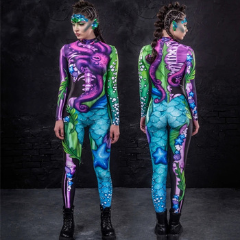 Scary Cosplay Costume for Women Halloween Carnival Party Gothic Devil Witch Zentai Bodysuit Sexy Jumpsuit Day of The Dead