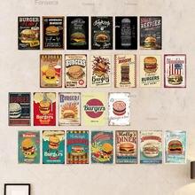 Металлическая вывеска для гамбургеров металлическая винтажная