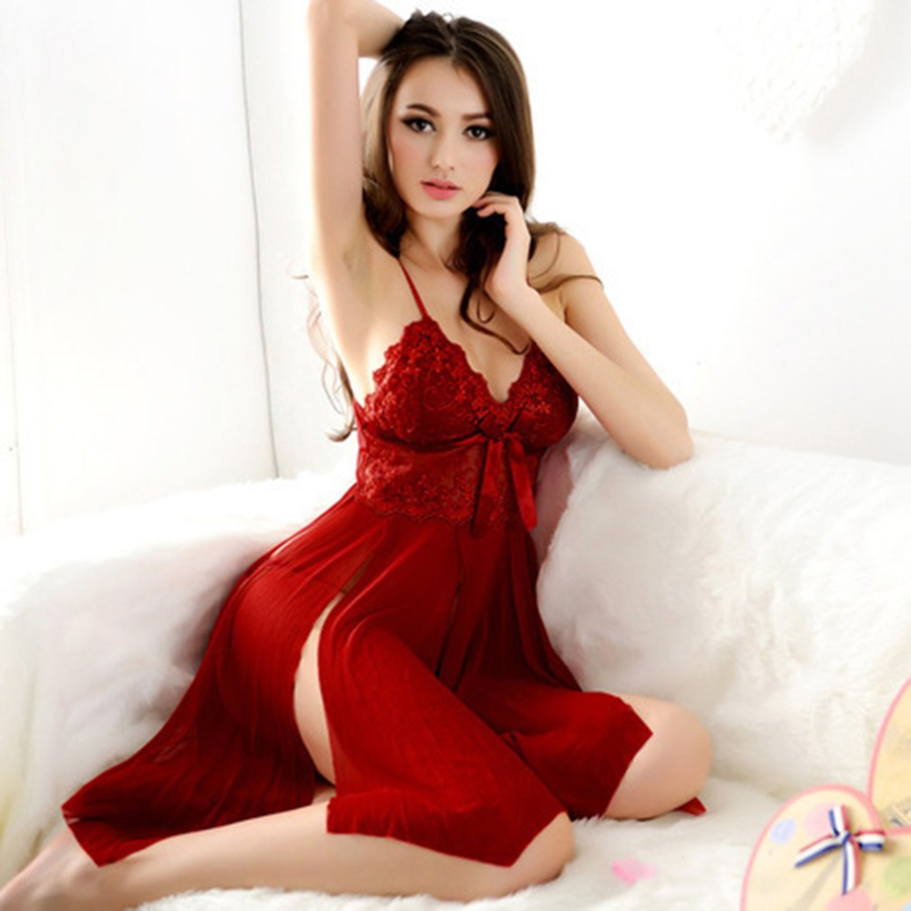 15 Red Sexy Night Dress Red Color Costumes Plug Size Sexy Women Lace  Erotic Lingerie Dress Ladies Night Party Valentine