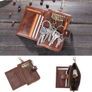 Image 3 - Винтажные кошельки для ключей Contacts, кошелек из натуральной кожи, мужской держатель для автомобильных ключей, дизайнерский Кошелек для монет на застежке, органайзер для ключей на молнии