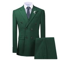 2020  New  Aririval Dark Green Men's suit  2 Pieces Pinstripe Notched Lapel Tuxedos Slim Fit Groomman for Wedding(Jacket+pants)
