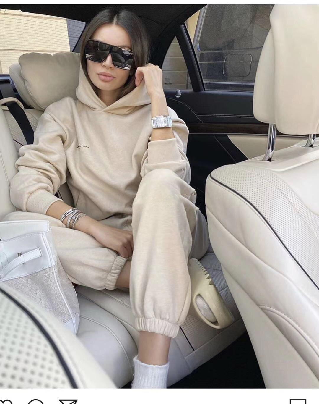 Новинка 2021, зимняя женская одежда, бархатный теплый спортивный комплект из 2 предметов, свитер с капюшоном и брюки, повседневный костюм с брю...