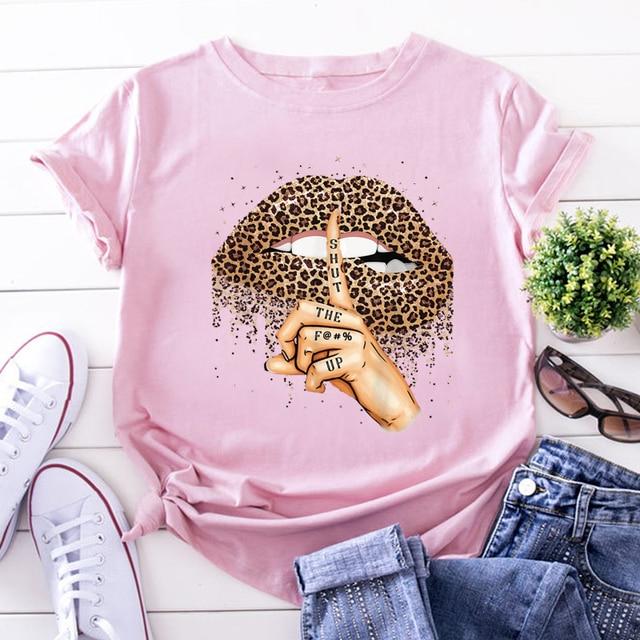 ZOGANKIN Summer Fashion Shirt Lips Leopard Graphic T Shirt Women Tops Base O-neckBlack Tees Kiss Leopard Lip Funny Girls Tshirt 2