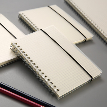 A5/B5 PP frosted coil book transparent horizontal line ledger strap notepad portable notepad