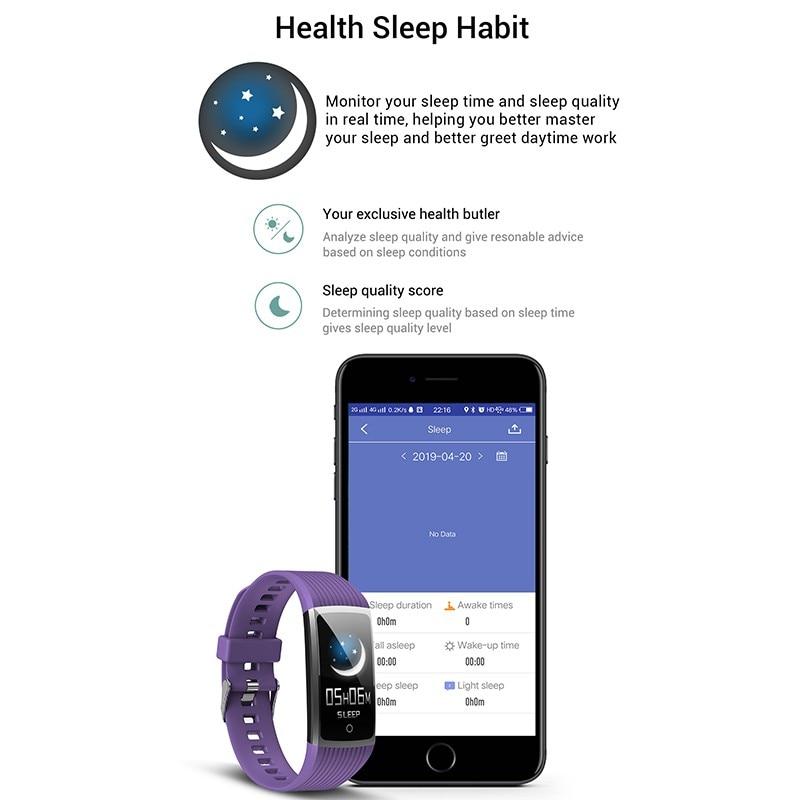 He704cf38ee9844db892bbd48b3f81f6dE R12 Smart Band Bracelet Fitness Bracelet with Pressure Measurement Health Wristband Pedometer Heart Rate Monitor Cardio Bracelet