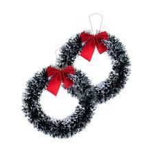 35 см Рождественский венок Рождественский зеленый венок Декоративная гирлянда с красным бантом вечерние украшения для дома