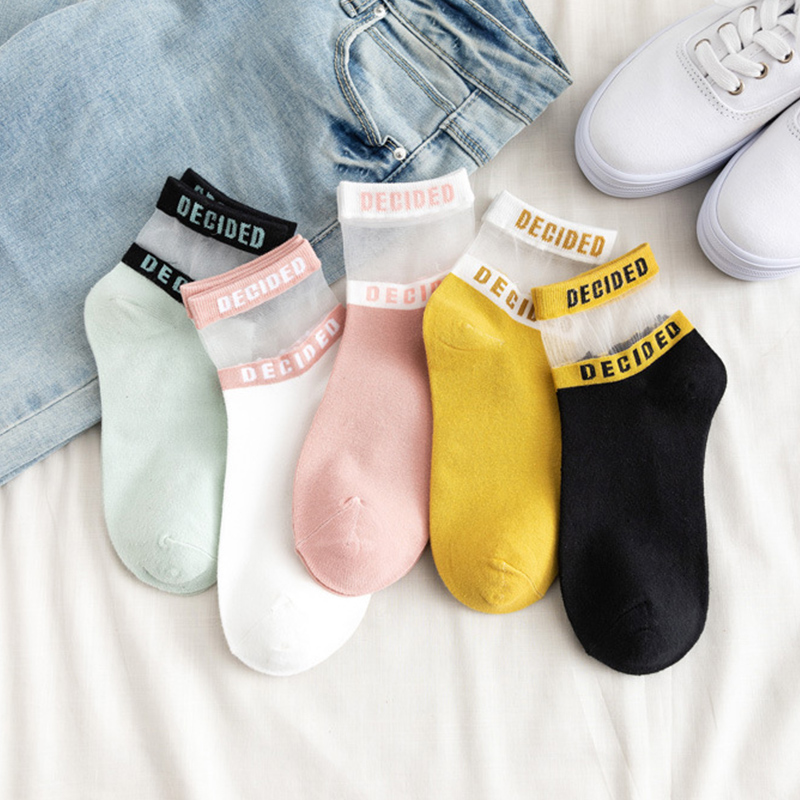 Fashion Korean 5 Bright Color 1Pair Breathable Comfortable Letters Lace Soft Cotton Silk Short Socks Free Size Casual Women