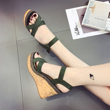 2020 New Women Summer Wedge Sandals Female Solid color Platform High Heel Sandals Fashion Buckle Open Toe Ladies Shoes NVLX112 women sandals wedge platform sandals summer slip on ladies high heels shoes fashion open toe casual female footwear 2020