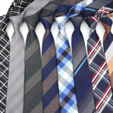 6cm laços casuais para homens gravata magro moda poliéster xadrez tira gravata negócios magro camisa acessórios presente cravate NO.31-61