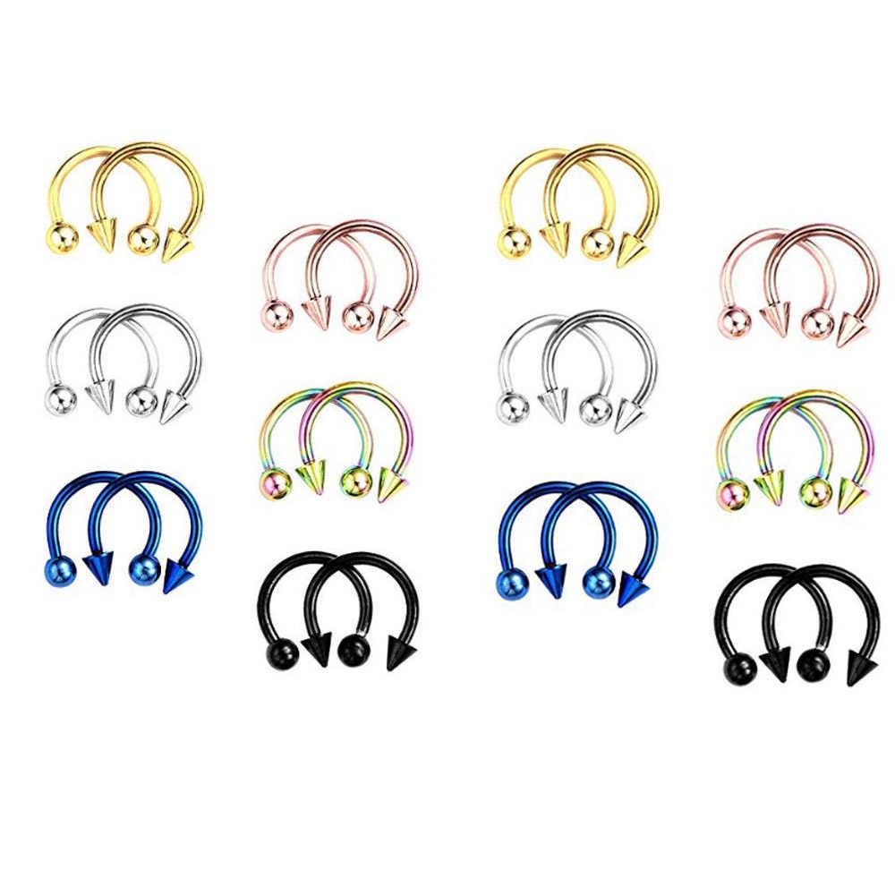 1PC אופנה נירוסטה אוזן פירסינג Helix פירסינג עגול מזויף האף מחץ האף שפתיים גבות גוף תכשיטים