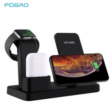 FDGAO 3 in 1 Charging Stand for iPhone 11 Pro X XS XR 8 Airpods Apple Watch 5 4 3 2 1 10W Fast Qi Wireless Charger Dock Station