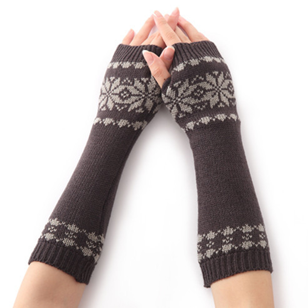Girls Gift Winter Warm Arm Fingerless Long For Women Snow Pattern Gloves Knit