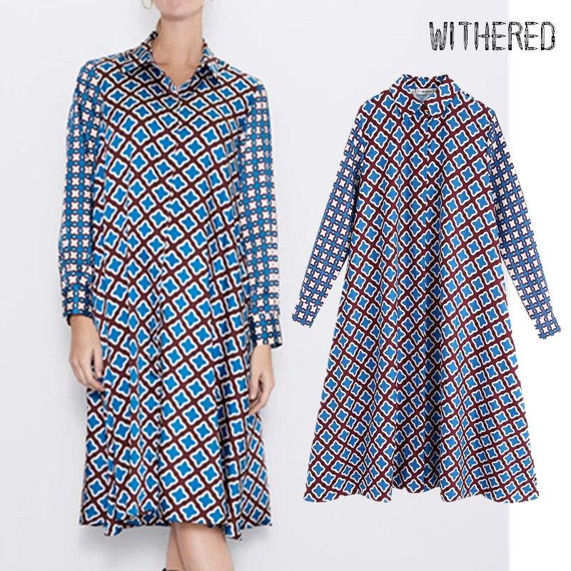 Withered England Style Elegant Geometric Printing Midi Dress Women Vestidos De Fiesta De Noche Vestidos Party Dress Women Blazer