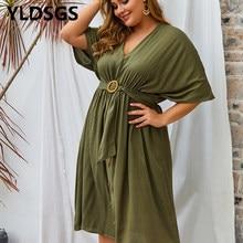 Fashion V-Neck Spring Shirt Dress Women Three Quarter Sleeve Summer Dress Plus Size Casual Vestidos Loose Party Robe