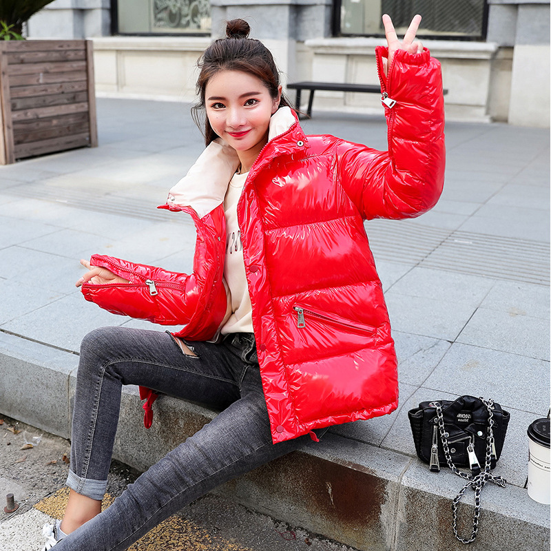 6 Colors 2019 Winter Glossy Down Cotton Padded   Parka   Women's Waterproof Coat Stand Collar Korean Loose Winter Warm Thick Jacket