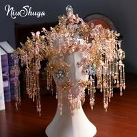 NiuShuya Vintage Chinese Bridal Headdress Costume Beaded Ancient Wedding Hairpin Gold Tassels Bride Jewelry Hair Accessorie