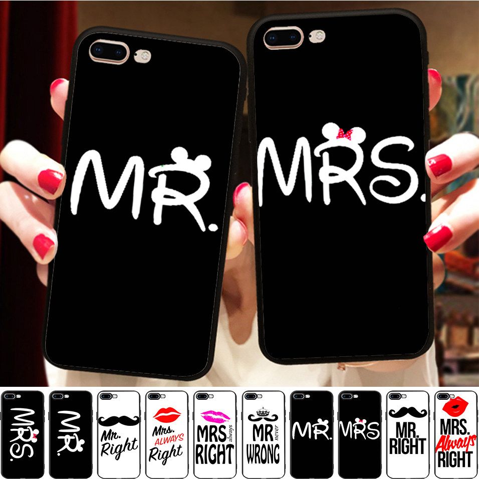 Lipstick Mr Mrs Always Right BFF Matching Couples Silicone Phone Case Cover For iPhone 11 Pro X 8 5 5S XR XS Max 6 6S 7 Plus