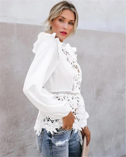 Women Elegant Long Sleeve Lace White Blouses Tops Summer Fall Retro Blouse Shirts harajuku 4