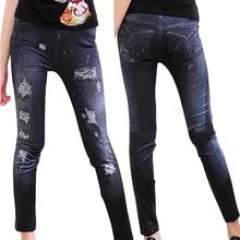 Hole Jeans Trousers Pencil-Pants Elastic-Leggings Ripped Skinny Fashion Women