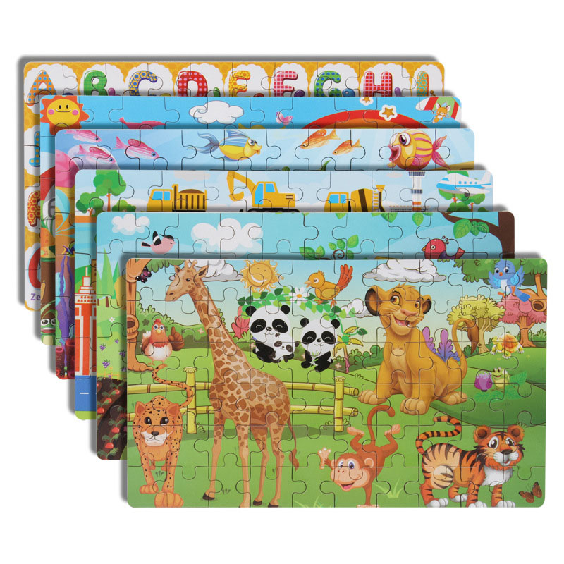 DIY Wooden Puzzle Cartoon Boxed Jigsaw Animal Traffic Number Letter Early Educational Toys Gifts For Children Kids Baby