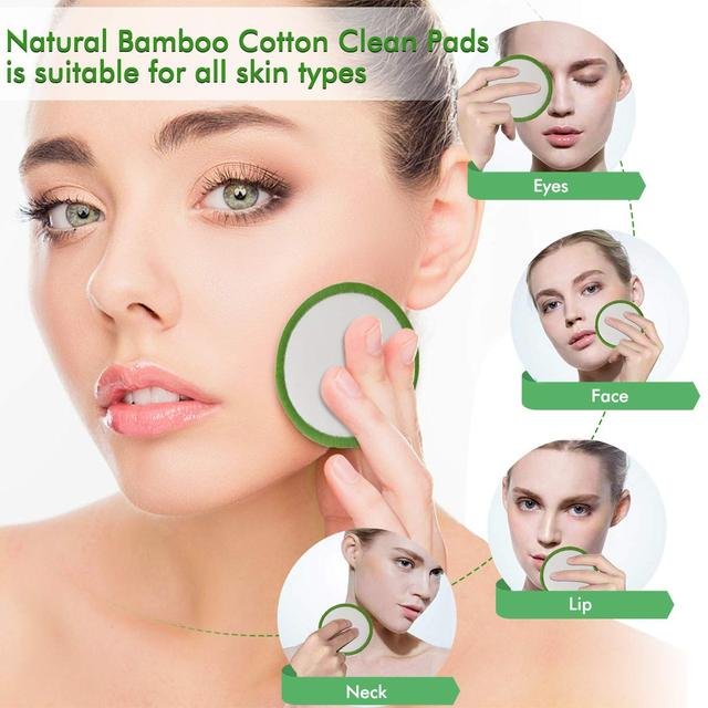 16Pcs Bamboo Cotton Makeup Remover Pads Reusable Soft Facial Clean Pads For Remove Lip Mascara Eye Shadow Lipstick Foundation 2