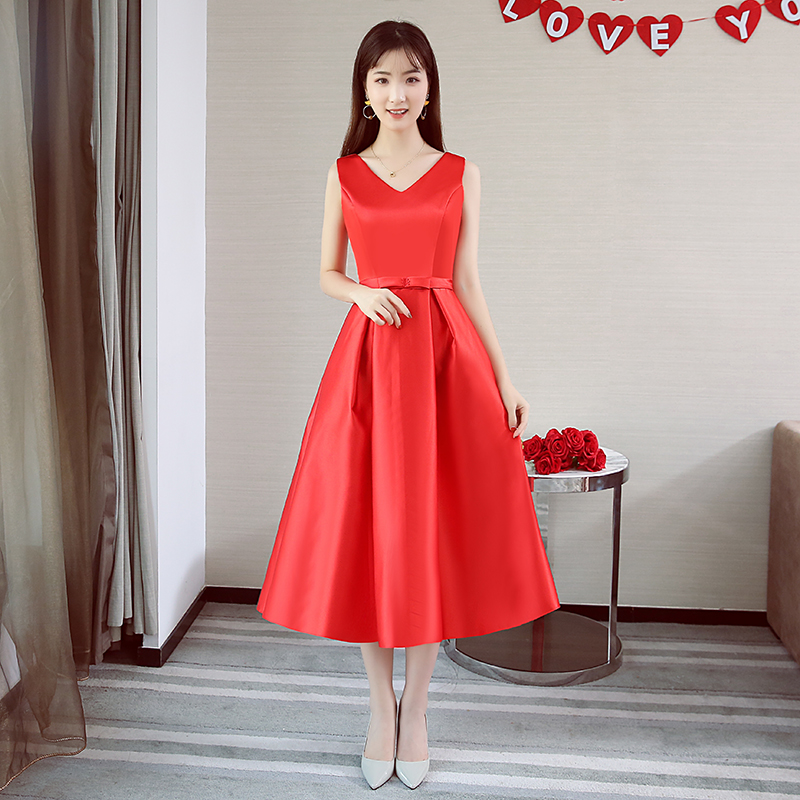 V-neck Plus Size Bridesmaid Dress Tea-Length Elegant Dress Women For Wedding Party Simple Wedding Guest Dress Sexy Prom Vestido