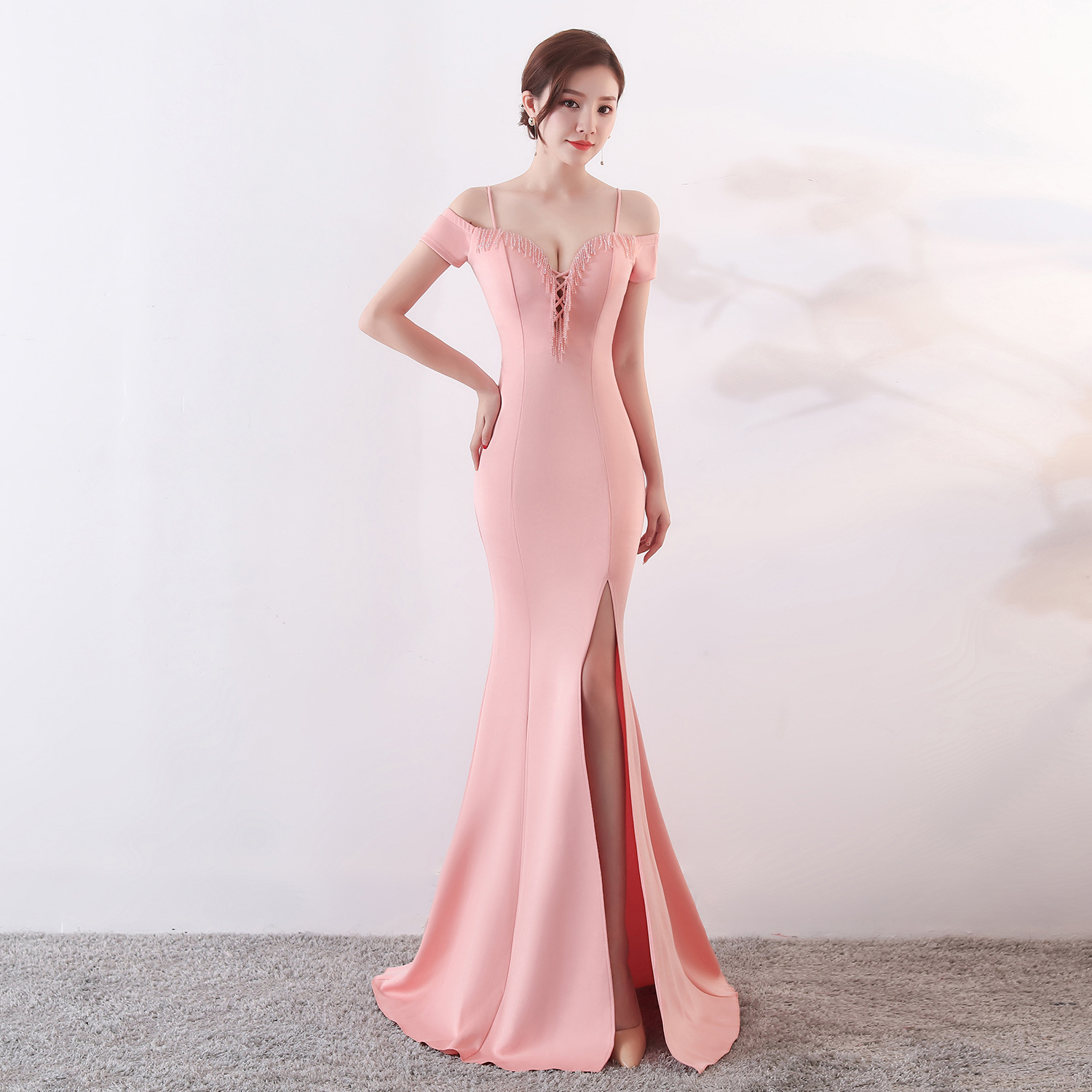 1370 # Evening Gown Long Women's New Style Camisole-Banquet Host Off-Shoulder Fishtail Slit Slim Fit One Piece