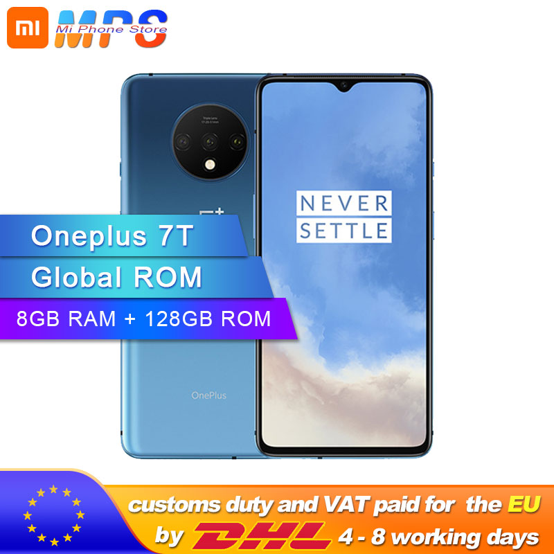 New Arrival Original Oneplus 7T 7 T Smartphone 8GB RAM 128GB ROM Android 10 Snapdragon 855 Plus 6.55'' 90Hz Screen Camera 48MP