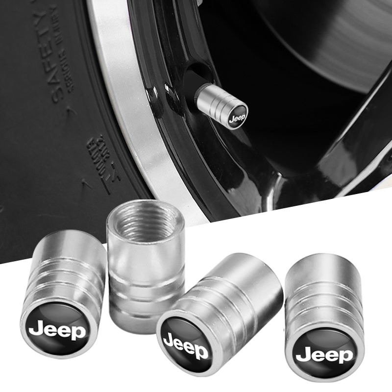 1Set Car Styling Metal Wheel Tire Valve Caps Dust Accessories For Jeep Cherokee Compass Patriot Renegade Rubicon Wrangler