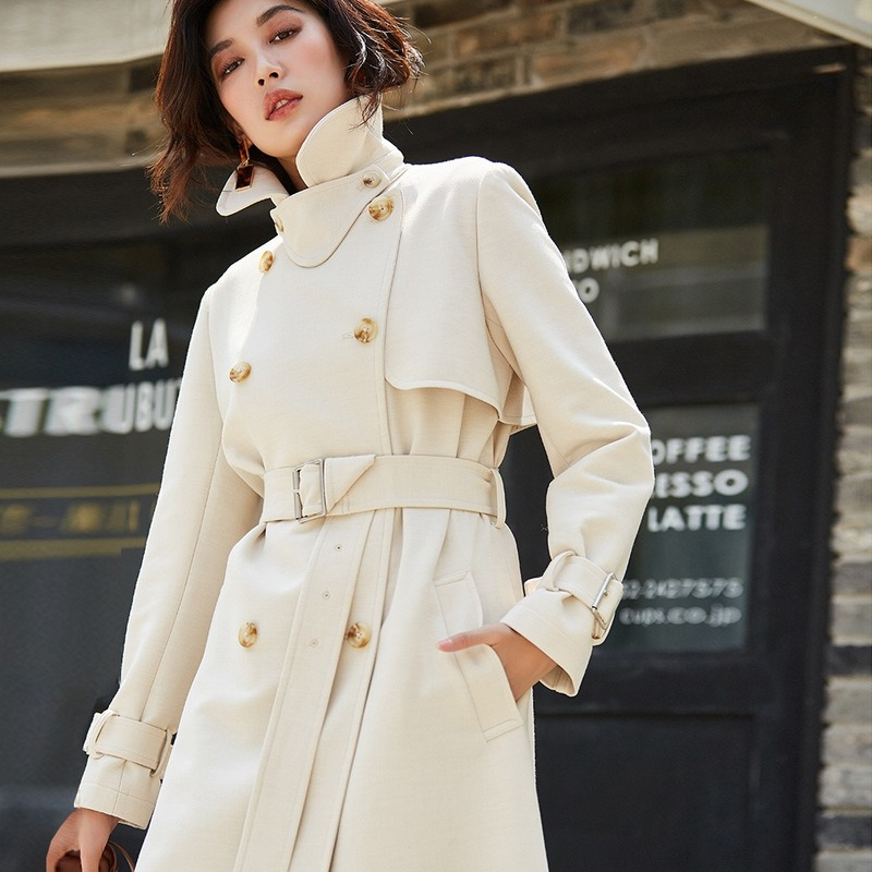 AIGYPTOS 2019 autumn and winter classics are not easy to wrinkle. Long double-breasted slim temperament coat trench coat women