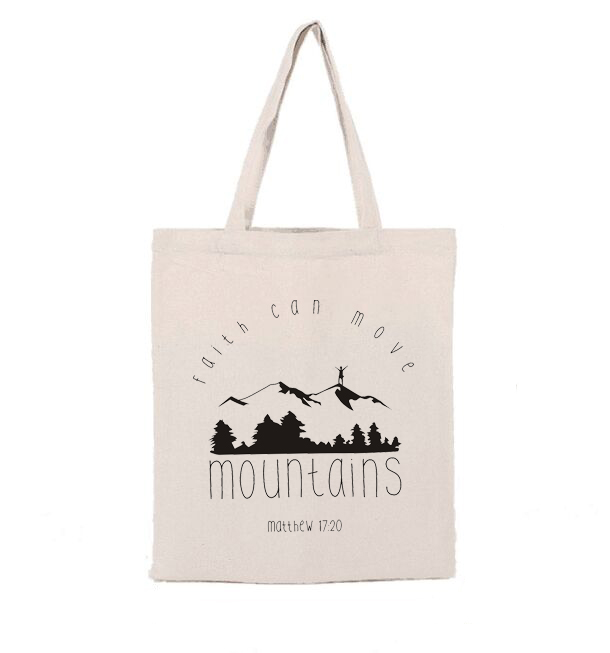 Faith Can Move Mountains Canvas Tote Bags Casual Fashion Shopping Shoulder Bags Christian Zipper Large Bags Bible Verse Bags