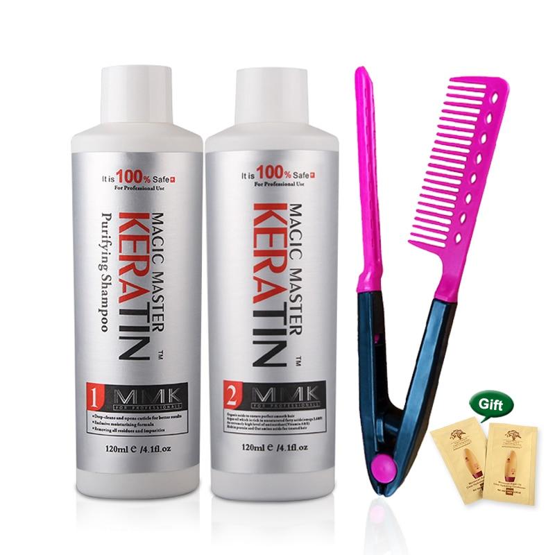 120ml Magic Master Brazilian Keratin 2pcs&Free Gift Comb Without Formalin Hair Treatment +120ml Purifying Shampoo Hair Care Set