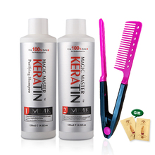 2pcs&Free Gift Comb Without Formalin 120ml Magic Master Brazilian Keratin Hair Treatment +120ml Purifying Shampoo Care Set