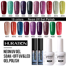 Huration Baru 15 Ml Tanpa Menggosok Cat Kuku Lapisan Dasar Top Coat 5 Ml Neon Gel Nail Polish Base Gel Kuku Alat Warna top Glitter Gel Varnish(China)
