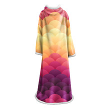 Mermaid Scales Printed Soft Cover Blanket Winter Warm Sofa Bed Throw for Adults Kids Multifunction Sleeve