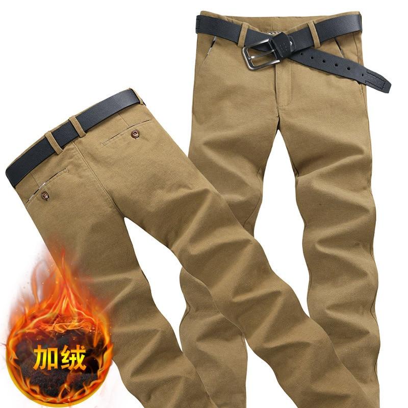 Plus Velvet 2019 Fashion Fleece-Straight-Leg Trousers Korean-style Slim Fit Men Cotton Linen Pants Casual Pants