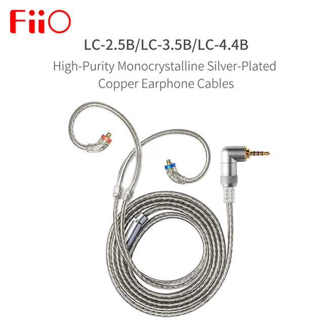 FIIO LC 2.5B LC 3.5B LC 4.4B MMCX Earphone Replacement cable 4 Strands of High Purity Silver Planted OCC Cable 1.2m