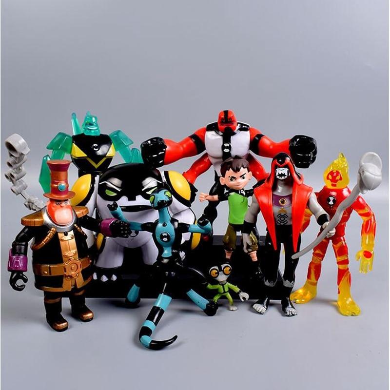 9 pçs/set Ben PVC Figura de Ação Ben Tennyson 10 Quatro Braços Cinza Importa Kineceleran Diamondhead Heatblast Crianças Brinquedos Presentes