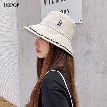 Женская панама с буквенной вышивкой uspop 2020 хлопковые шляпы