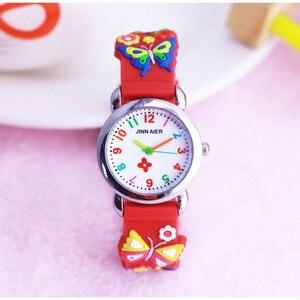 Детские часы с 3d-рисунком бабочки, силиконовые дизайнерские кварцевые наручные часы для мальчиков и девочек, relogio kol saati, 2019