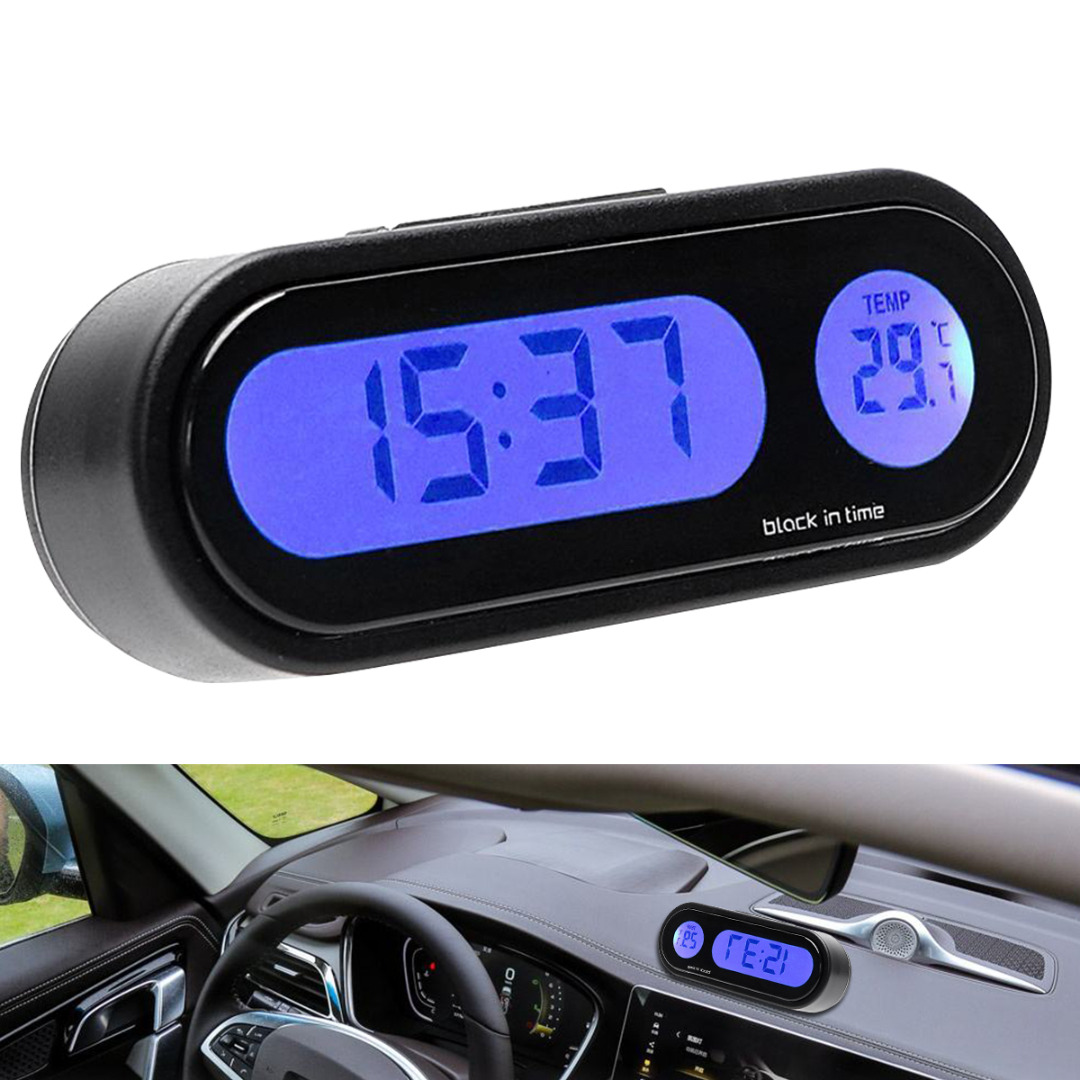 Mayitr 1pc 12V 2 In 1 LCD Digital LED Car Electronic Time Clock Thermometer With Backlight Fine