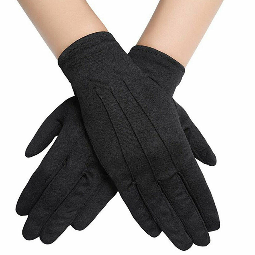 Unisex Black Fashion Suede Ceremony Glove Jewelry Magician Waiter Gloves