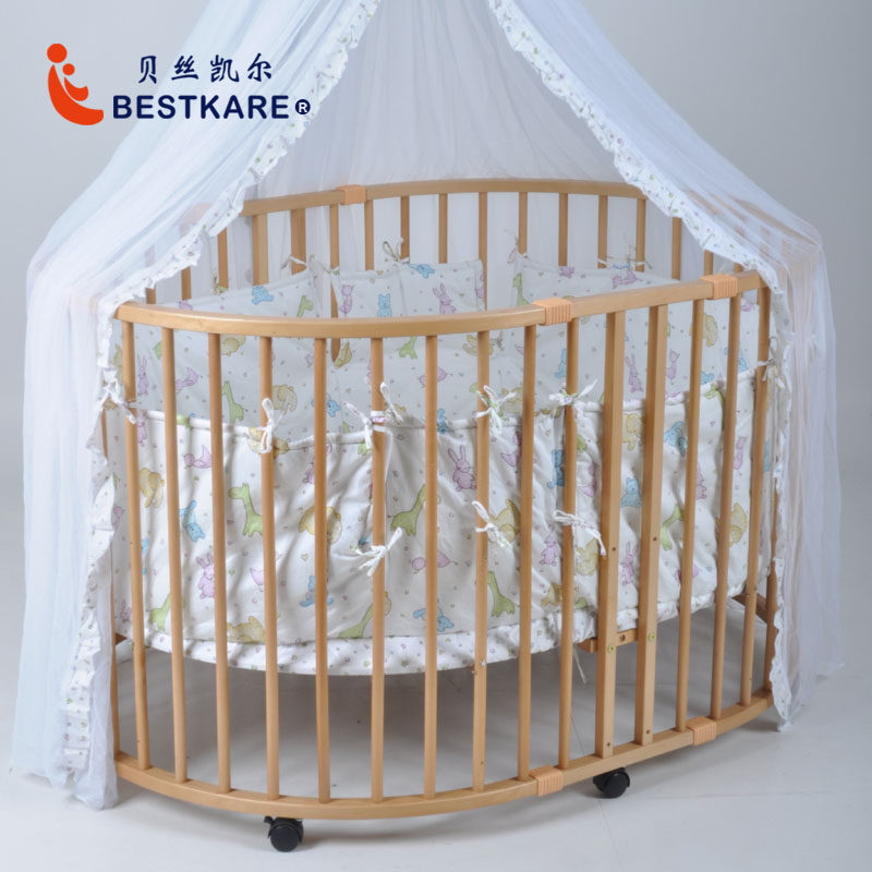 European Large Oval Crib Solid Wood Multi-functional Baby Bed  Safety Game Fence Baby Walk Fence