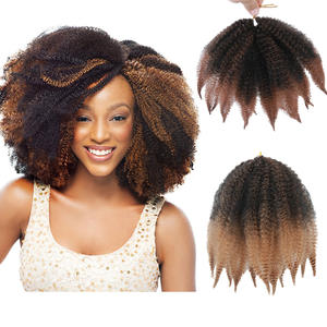 Braid-Hair-Extension Crochet Marley Afro Kinky Twist Black Kanekalons Synthetic for Women