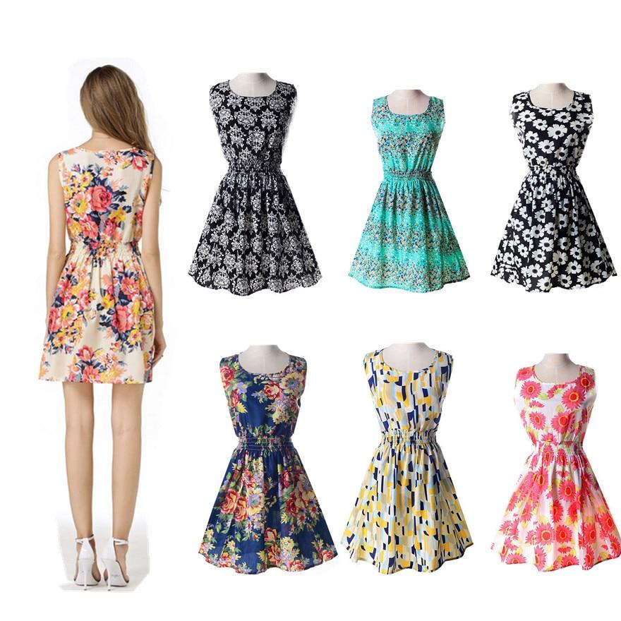 New Brand Fashion Women Girls Dress Short Floral Slim Size M L XL 2019 Fashion Print Chiffon Beach Dress Summer Sweet Loose